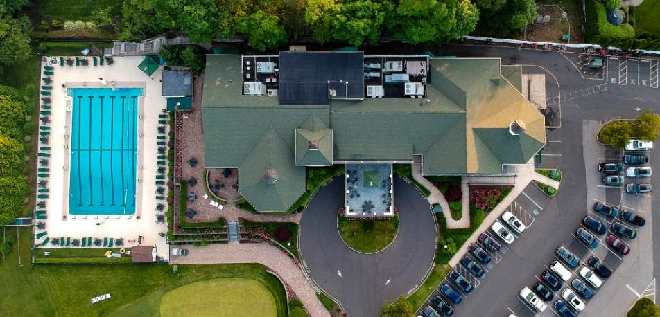 Aerial shot of the clubhouse.